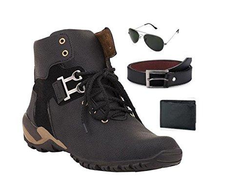RM SHOPPERS Men Stylish Black Boots Combo