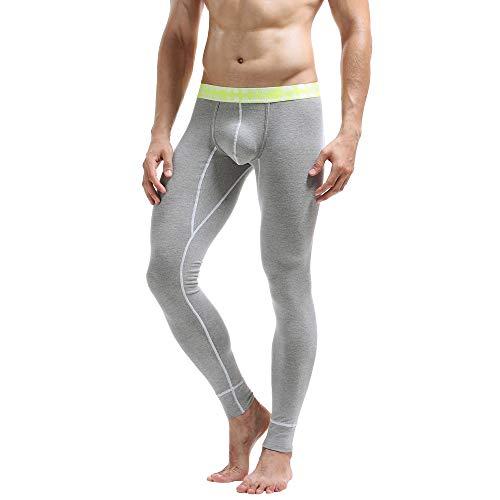 OHQ Pantalones De CháNdal Hombres Polainas Invierno Color SóLido Leggings AlgodóN Transpirables Deportivos TéRmica Pantalones Largos De Johns Calzoncillos (L, Gris#3)