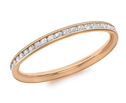 Carissima Gold Ring 9k (375) Rotgold Zirkonia Band - Größe P