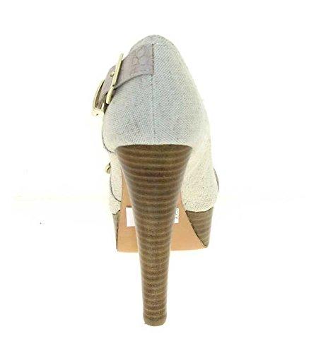 1TO3 - Peep toes en tissu Beige