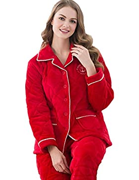 DMMSS Laminato di pigiami paio Set pigiama di cotone imbottito Casual manica lunga , 1 , xxxl