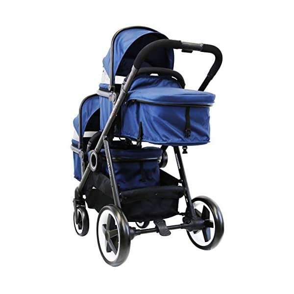 iSafe Tandem Pram me&You - 2 Tone Navy (Navy) iSafe Safety tested and certified to BS EN 1888 and BS EN 1466 for the UK & Europe Seat Units Carrycot Convertible All Adaptors (Built In) Extra large shopping basket 4
