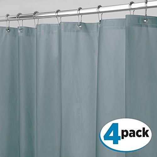 mDesign Duschvorhang Anti-Schimmel - 183 cm x 183 cm - grauer Dusch- & Badewannenvorhang - Duschvorhang wasserabweisend - 12 verstärkte Metallösen für einfache Aufhängung - 4er Set