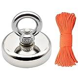 Neodym Magnet Angeln Magnet mit Seil x 98ft(30m), Durchmesser 60mm Dicke 15mm N52 Haltekraft...