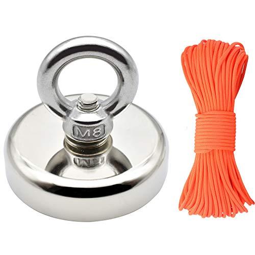 Neodym Magnet Angeln Magnet mit Seil x 98ft(30m), Durchmesser 60mm Dicke 15mm N52 Haltekraft 330LBS(150KG) Pot Magnet mit Versenktem Loch und Augenschraube für Magnet Angeln und Bergung im Fluss - Nylon-seil 2 1