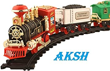 AKSH Battery Operated Light Sound Smoke ChooChoo Classical Train Track Set for Kids