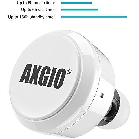 AXGIO® Mini Pro Bluetooth Auriculares In-Ear Wireless Headset con micrófono integrado para iPhone teléfonos móviles smartphones Blanco