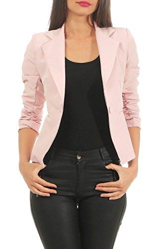DANAEST Eleganter Damen Blazer Jacke aus Baumwolle für Business Freizeit Party (632), Farbe:Rosa, Kostüme & Blazer für Damen:36/S