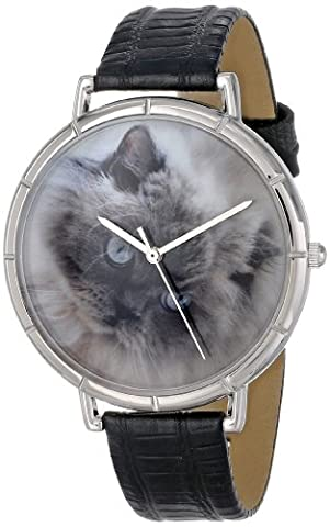 Whimsical Watches Himalayan Cat Black Leather and Silvertone Photo Unisex Quartz Watch with White Dial Analogue Display and Multicolour Leather Strap T-0120039