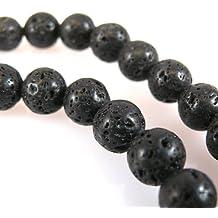 LAVA Perlen 12mm schwarz rund Lavaperlen Schmuckperlen 1 Strang gewachst