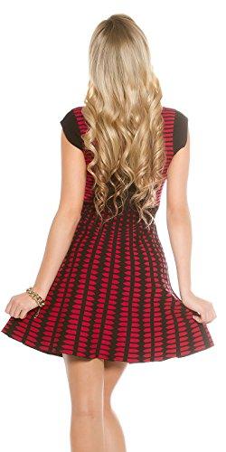Trendy KouCla Kleid Casual Tailliertes Etui Damen Strickkleid Abendkleid Freizeitkleid Sommerkleid Red