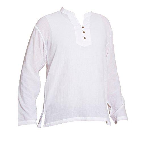 PANASIAM Sommer Hemden aus wohlig weicher, 100% reiner Naturbaumwolle Shirt 3button WHITE