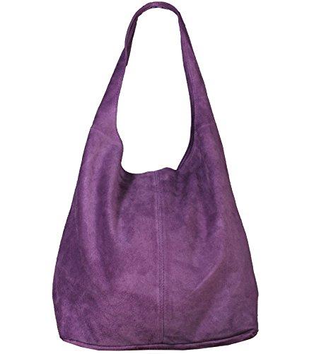 Freyday Damen Ledertasche Shopper Wildleder Handtasche Schultertasche Beuteltasche Metallic look (Violett)