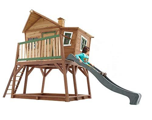 Beauty.Scouts Holzspielhaus Yvie mit Veranda + Rutsche + Leiter + Sandkasten 193x432x288cm aus Zedernholz in braun Kinder Kinderspielhaus Holzhaus Stelzenhaus