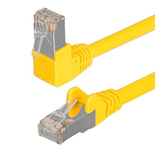 HB Digital Netzwerkkabel LAN Kabel cabel 90° Winkel RJ45 Stecker 2m 200cm cat 6 gelb Kupfer PROFI S/FTP PIMF LSZH Halogenfrei RoHS-compliant cat. 6 Cat6 AWG 27/7 RJ45 Port Ethernet Netzwerk AWG27 Patchcable