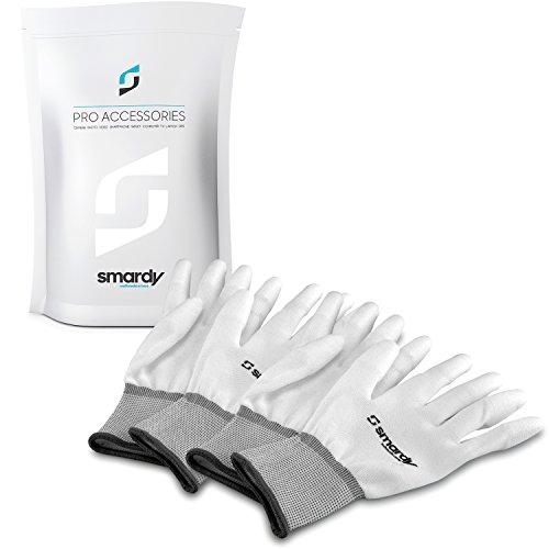2x smardy Antistatische Handschuhe mit PU-Beschichtung weiß fuer DSLR & Objektive, Größe L