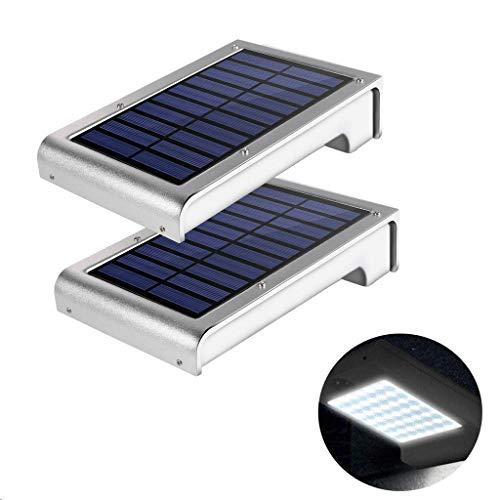Solar Wandleuchte, GREEMPIRE 49 LED Solarleuchten Solarlampen Wand IP65 Wasserdicht 6000K Kaltweiß 420Lumen Wandbeleuchtung Außenleuchte mit der Radar-Bewegungsinduktion für Garten Wände Hof - 2 Pack (16 Ft Garage Tür)