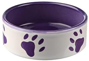 Dog bowl with paw prints, ceramic, Large 1.4 l/ø 20 cm, white/purple