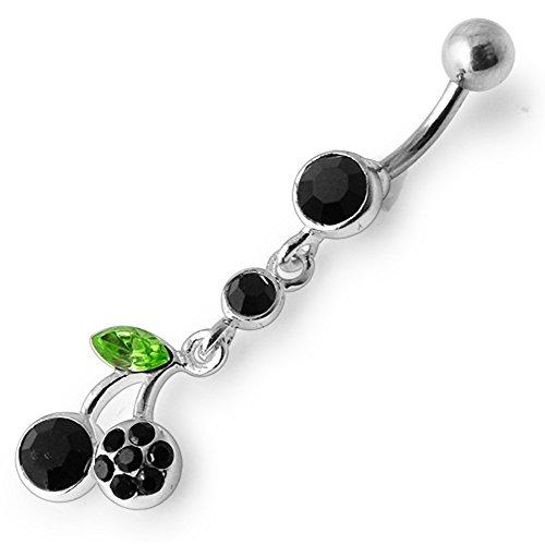 Black Crystal Stein Trendy Cherry Design Sterling Silber Bauch Bars Piercing