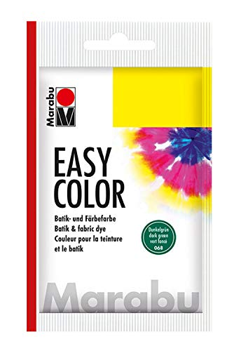 Marabu 17350022068 - Easy Color, Batik- und Handfärbefarbe für Baumwolle, Leinen, Seide und Mischgewebe, handwaschbar bis 30°C, sehr gute Lichtechtheit, nicht kochecht, 25 g, dunkelgrün