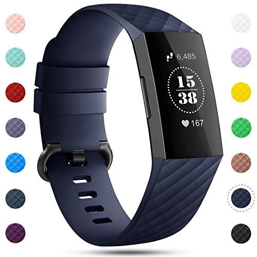 Onedream Kompatibel für Fitbit Charge 3 Armband für Damen Herren, Silikon Sport Ersatzarmband Kompatibel für Fitbit Charge 3/ Special Edition Uhr Tracker, Wasserdichtes Zubehör Armband Blau