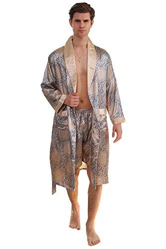 Herren Morgenmantel Bademantel Lang Satin Nachtwäsche Kimono Sleepwear V Ausschnitt mit Gürtel