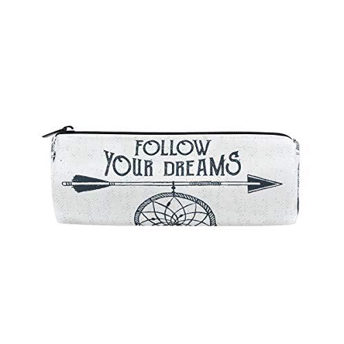 Imobaby - Estuche de plumas blancas para atrapasueños, bolsa multifuncional de papelería, bolsa con cremallera, soporte para lápices con cremallera para estudiantes, bolsa de maquillaje de regalo