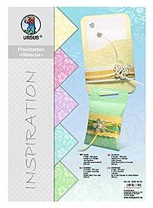 Ursus 60394699 Hibiscus - Caja de cartón (5 Hojas, 220 g/m², DIN A4, 5 Colores Pastel, teñidos), diseño Flocado Blanco por una Cara, Color Pastel