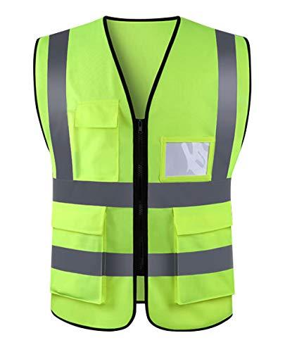 Panegy Warnweste Atmungsaktiv Sicherheitweste Hohe Sichtbarkeit Unfallweste Multi-Tasche Reflektierende Weste mit Reißverschluss für Handwerker Bauarbeiter