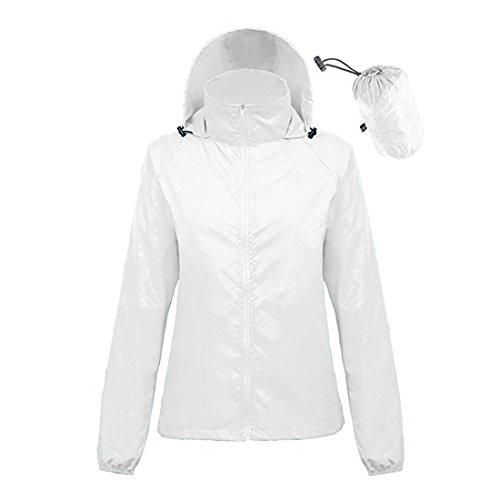 ZIMCA Unisex Packbare leichte UV-Schutzjacken Outdoor Windbreaker schnell trocknende Haut Regenmantel - Weiß - Frau XXX-Large/Männer XX-Large