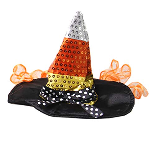 Pet Halloween Cute Kostüm - FunPa Hexen Hut, Halloween Pet Wizard Hut Funny Cute Pet Kostüm Hut Dog Party Hat Hexenhut für Hund Katze mit Band