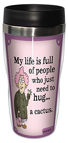 'Aunty Acid taza de viaje, con forro inoxidable vaso de café, 16-ounce Hug un Cactus sg78419, divertido regalo para compañeros de trabajo de oficina, Tree-Free Greetings