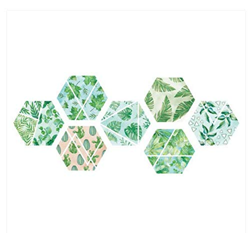 Tapete selbstklebende wohnzimmer esszimmer dekorative wandaufkleber aufkleber handbemalte sechseckige grüne blätter 44 * 100 cm - Handbemalte Esszimmer