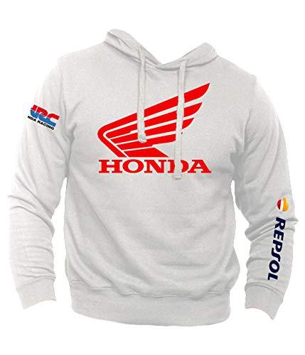 save off 3b194 602d3 Felpa Personalizzata Honda Vintage Racing HRC Moto GP Repsol Motors Marquez  MM93 Sport Senza Tascone (S, Bianco)