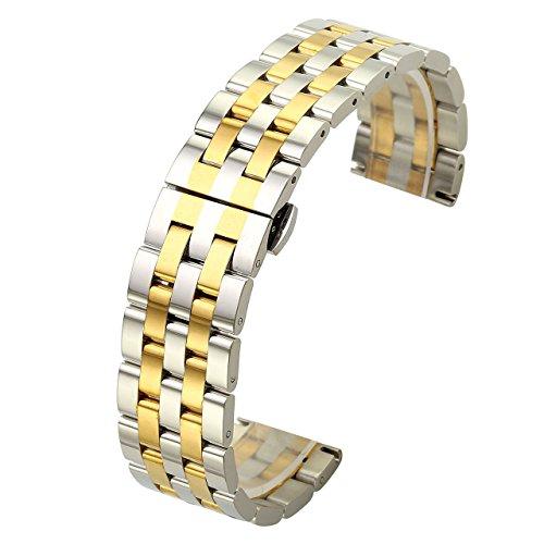 (JSDDE Uhrenarmbänder Massiv Edelstahl Links Uhrenarmband gerade Ende Metallarmband Uhrband mit Schmetterling Schließe (Silber+Gold 24mm))