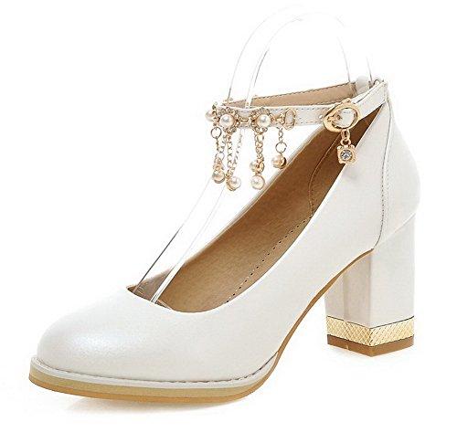 VogueZone009 Femme Pu Cuir Mosaïque Boucle Rond à Talon Haut Chaussures Légeres Blanc