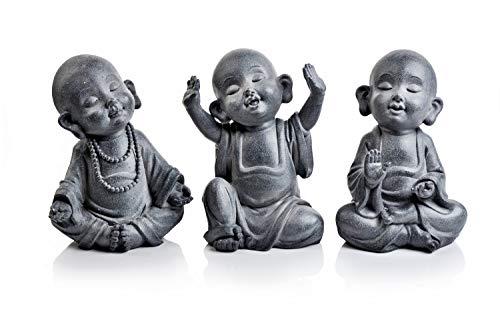 Weltbild Dekofiguren Kleine Mönche, 3er Set - Deko Buddha Figuren, Dekoration, Skulpturen, Statue, für drinnen und draußen