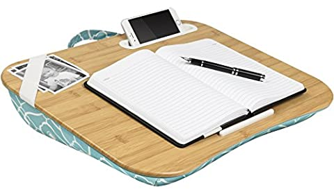 LapGear Lap Desk Designer XL 17 - Bamboo / Aqua Trellis, LapDesk Surface Supports up to 17.3