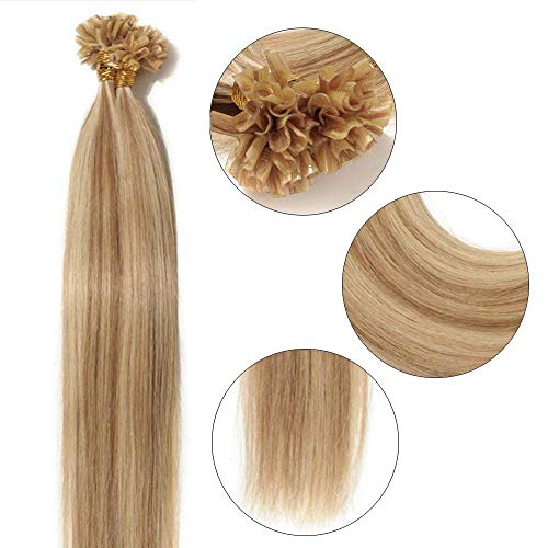 Extensions Echthaar Bondings 1g U-Tip Haarverlängerung 50 Strähnen Keratin Human Hair 50g-55cm(#12/613 Hellbraun/Hell-Lichtblond)