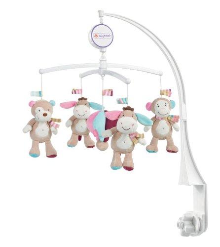Fehn 081374 Musik Mobile Esel - Spieluhr-Mobile mit Esel, Affe und Koala in sanften Farben zum Lauschen & Staunen/Zum Befestigen am Bett für Babys von 0-5 Monaten/Höhe: 65 cm, ø 40 cm