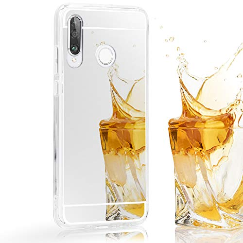 NALIA Spiegel Hülle kompatibel mit Huawei P30 Lite, Ultra-Slim Handyhülle Mirror TPU Silikon Case, Schutzhülle Dünn Back-Cover Verspiegelt Handy-Tasche Bumper Smart-Phone Etui Soft Skin, Farbe:Silber