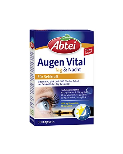 Abtei Augen Vital Kapseln Tag und Nacht, für Sehkraft und Zellschutz, 30 Kapseln, 1 er Pack