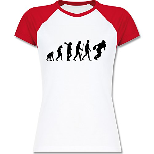 Shirtracer Evolution - Football Evolution - Zweifarbiges Baseballshirt/Raglan  T-Shirt für Damen Weiß