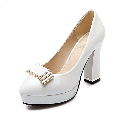 VogueZone009 Femme Couleur Unie Pu Cuir à Talon Haut Rond Tire Chaussures Légeres Blanc