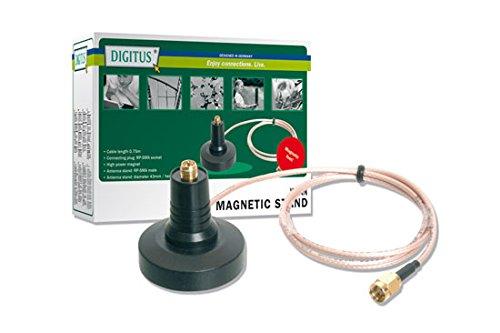 Base Antenne (DIGITUS DN-70101-1 Wireless LAN Antennenfuß, magnetisch, RP-SMA Anschluss, Kabel: 1,5 m lang)