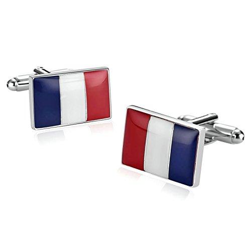 Beydodo Herren Edelstahl Manschettenknöpfe Hochzeit (Cufflinks) Frankreich Flagge Rechteck Silber Manschettenknöpfe Hemd Business (Ferrari Krawatte)