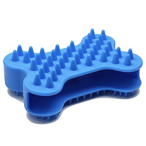 Amoer Hundebürste Langhaar Kurzhaar Fellbürste für Hund Katze Pferde Silikon Zupfbürste Unterfellbürste Unterwollbürste Fellpflege Handschuh zweiseitige Duschbürste Knochentyp