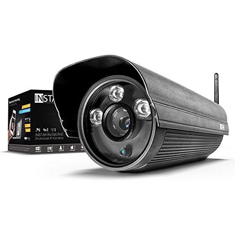 INSTAR IN-5907HD - Cámara IP Wi-Fi para exteriores (sensor WDR, 1 MPx, grabación en tarjeta SD, detección de movimiento y 3 ledes para visión nocturna por IR, 13 W), color