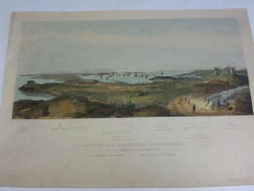 Panorama öfver Bomarsunds Fästningswerk ritad den 20. Augusti 1854, 3 dagar efter Bombardement. Farbige Lithographie um 1854