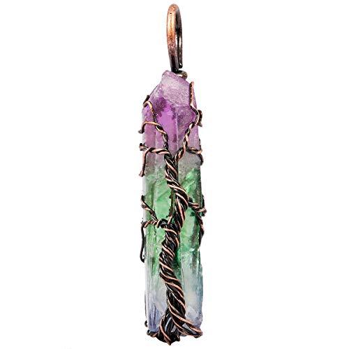 KYEYGWO Titanium Coated Draht Gewickelt Baum des Lebens Anhänger, Handgefertigt Unregelmäßiger Natürlicher Edelstein Heilung Bergkristall Punkte Halskette Anhänger -